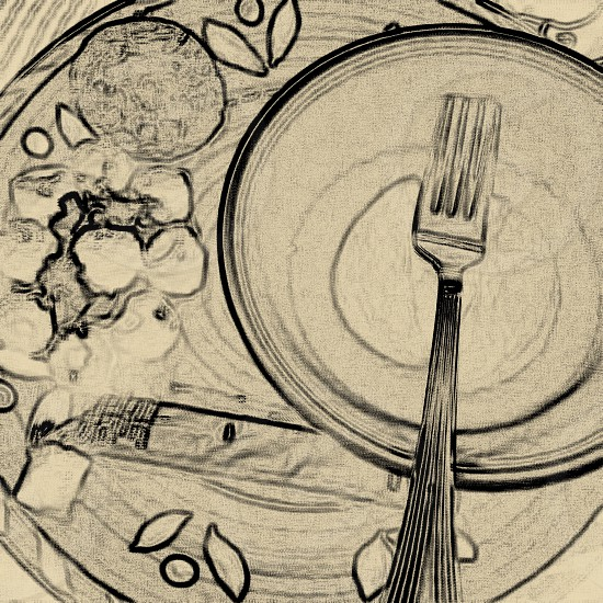 Dinner plate. Simple charcoal graphic sketch of plate and fork. Room for text. photo