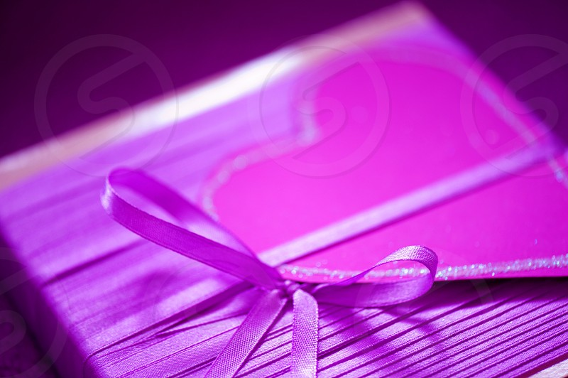 pink red heart box with ribbon photo
