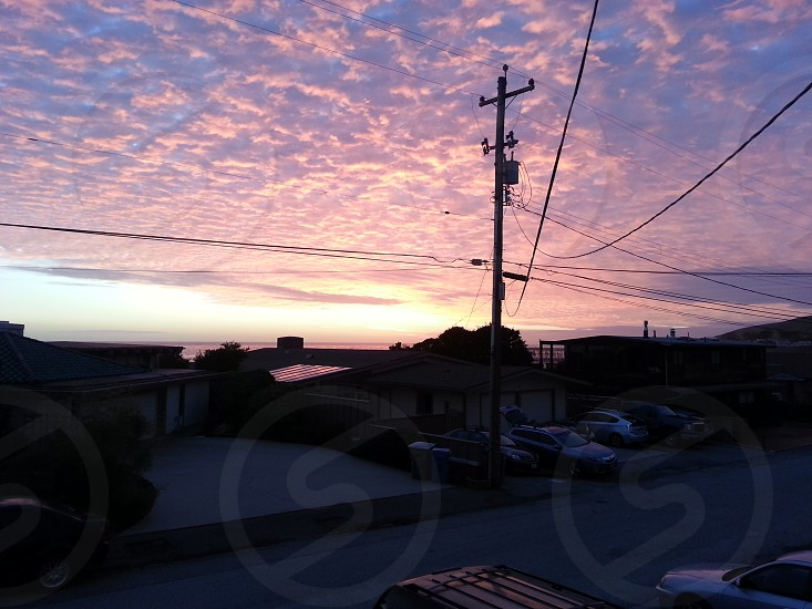 sunset cayucos pacific ocean california clouds photo
