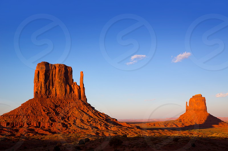 Monument Valley West Mitten and Merrick Butte sunset shadows Utah photo
