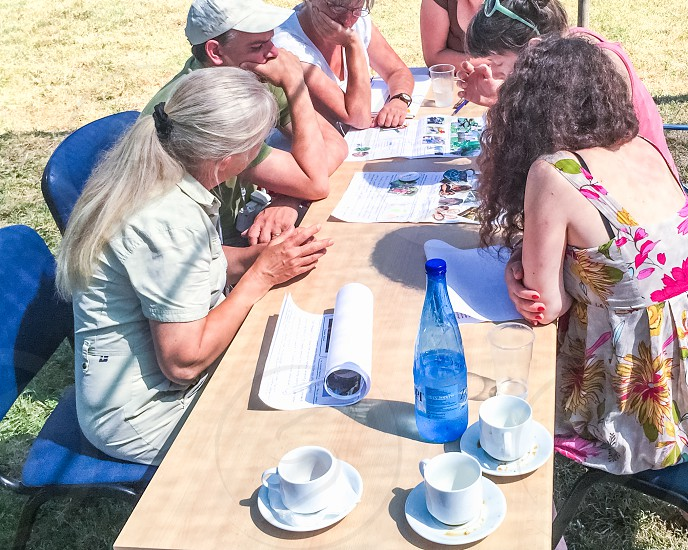 Businesswomen At The Desk At Outdoor Business Meeting photo