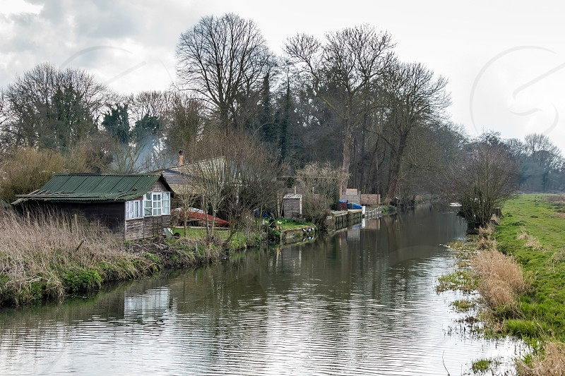 Old Wooden Shack near Papercourt Lock on the River Wey Navigations Canal photo