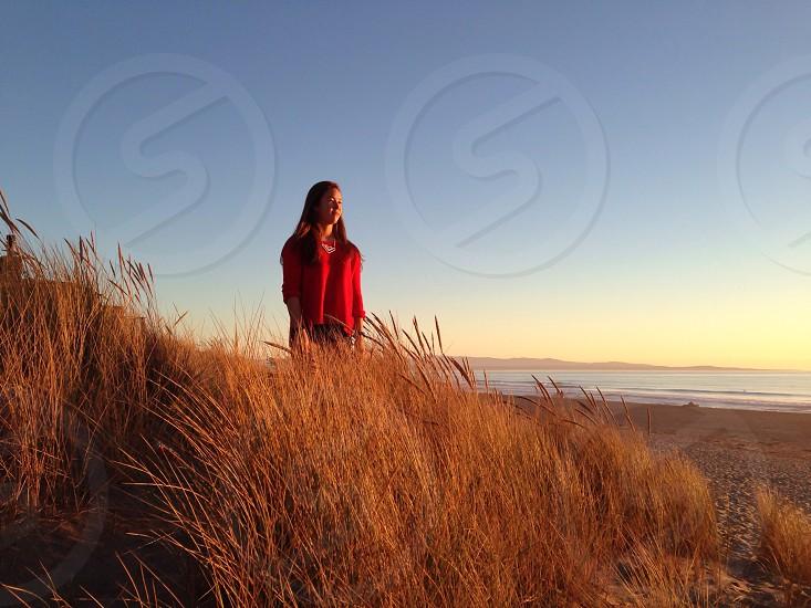 The Golden State: Alyssa facing west.  photo