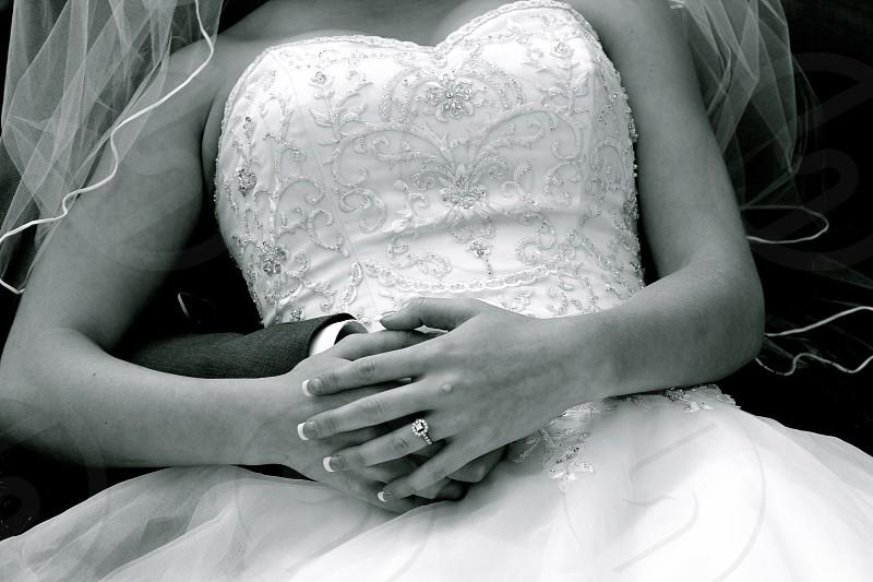 woman wearing white wedding dress photo