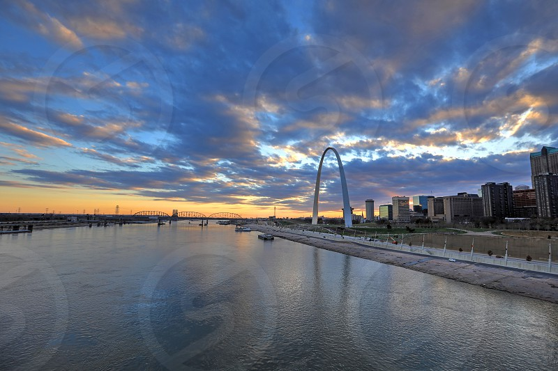 The Gateway Arch and St. Louis Missouri skyline. photo