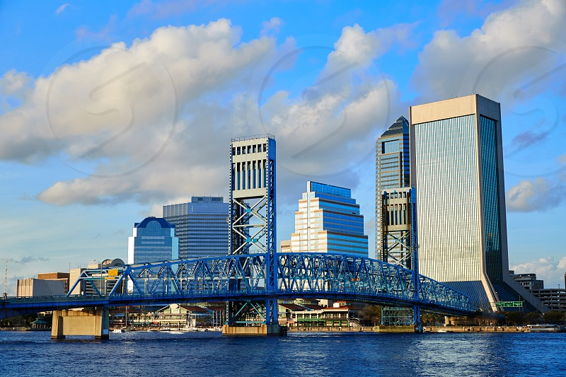 Jacksonville skyline evening with blue river reflection in florida USA photo