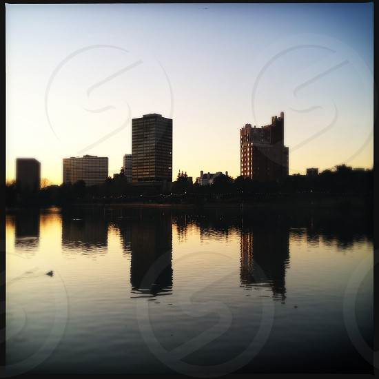 Lake Merritt in Oakland at sunset photo