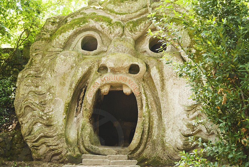 Bomarzo VT Italy july 2014: the mouth of the ogre building inside the Park of the Monsters in Bomarzo Italy photo