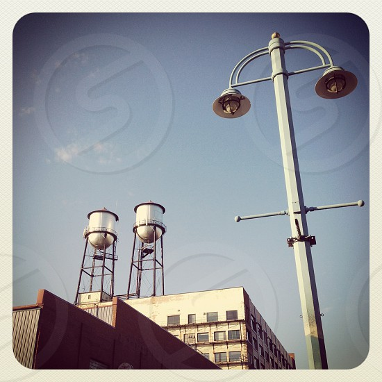 water towers & building photo