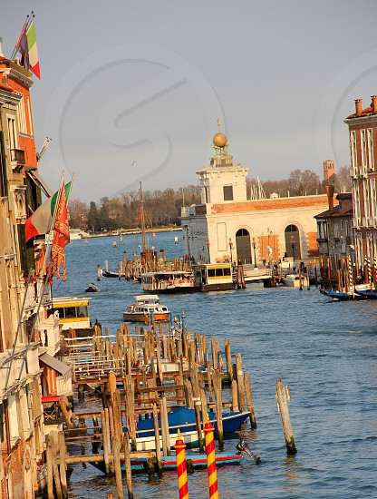 gondolas and catamarans transporting people in Venice photo