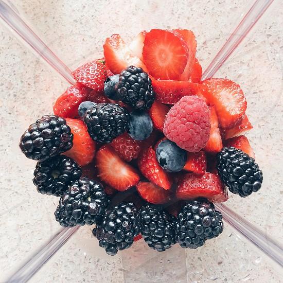 blackberries strawberries and raspberries photo