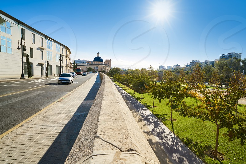 Valencia Trinidad street with Turia park view in Spain Trinitat photo