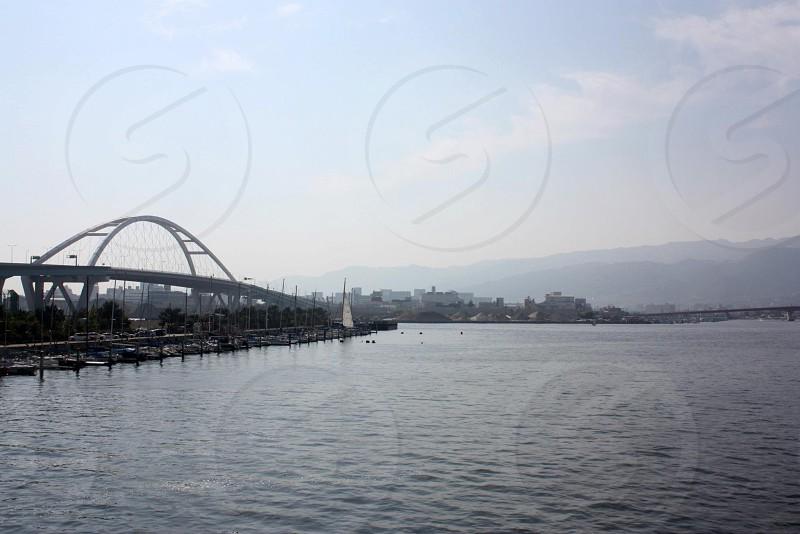 Bridge in Osaka Bay in Nishinomiya Japan photo