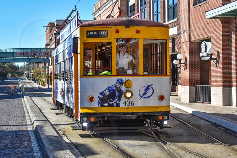 Ybor City Tampa Bay Florida. January 19  2019  . Colorful Streetcar in 8th Ave. Ybor City is a historic neighborhood in Tampa. photo