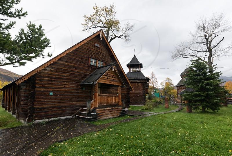 ESSO VILLAGE KAMCHATKA PENINSULA RUSSIAN FAR EAST - SEPTEMBER 18 2013: Wooden building in Bystrinsky Ethnographic Museum in Bystrinsky Region on Kamchatka Region. photo