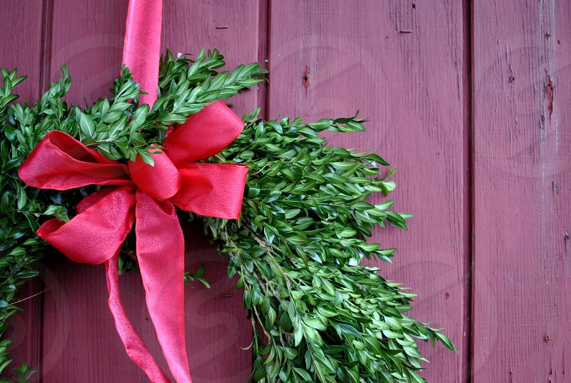 Green leaf decor with red ribbon on brown wooden surface photo