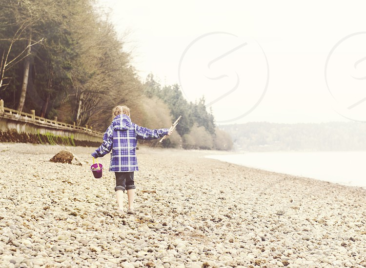 Girl at the beach in Tacoma Seattle photo