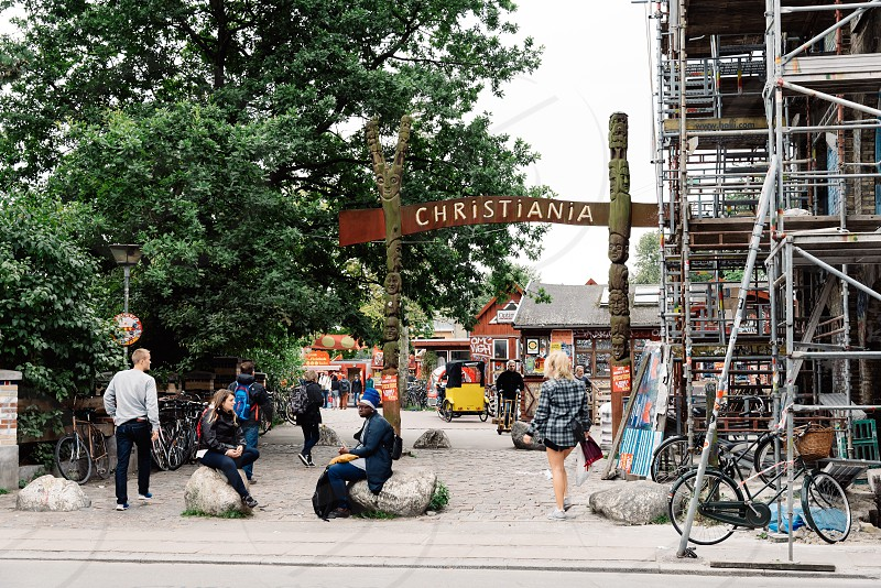 Entrance to free town of Christiania in Copenhagen photo