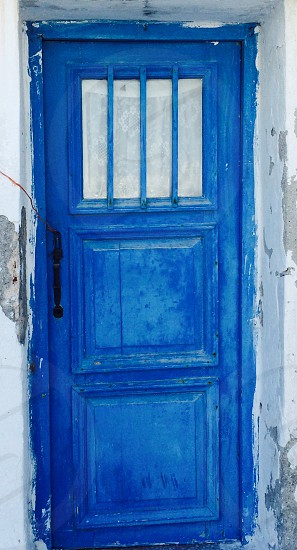 Old wood door traditional blue Naxos Greece photo