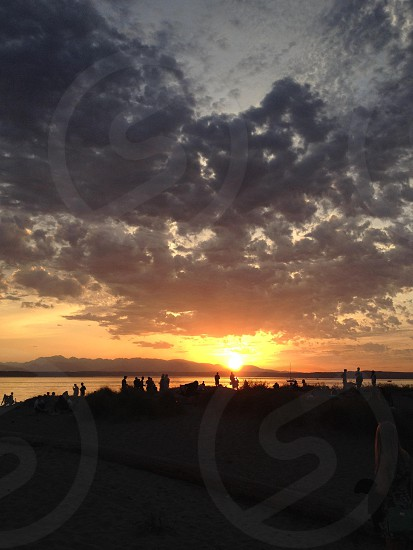 sea and mountain sunset view photo