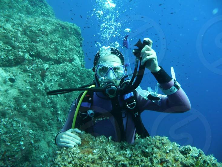 scuba diver under the sea photo