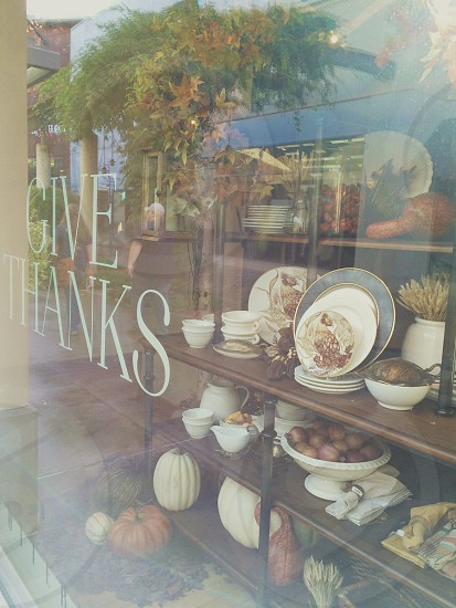 Give thanks store window thanksgiving  photo