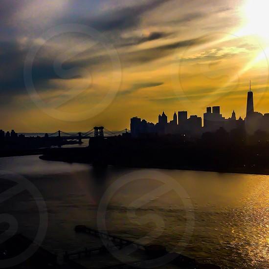 Sunset over Lower Manhattan New York City photo