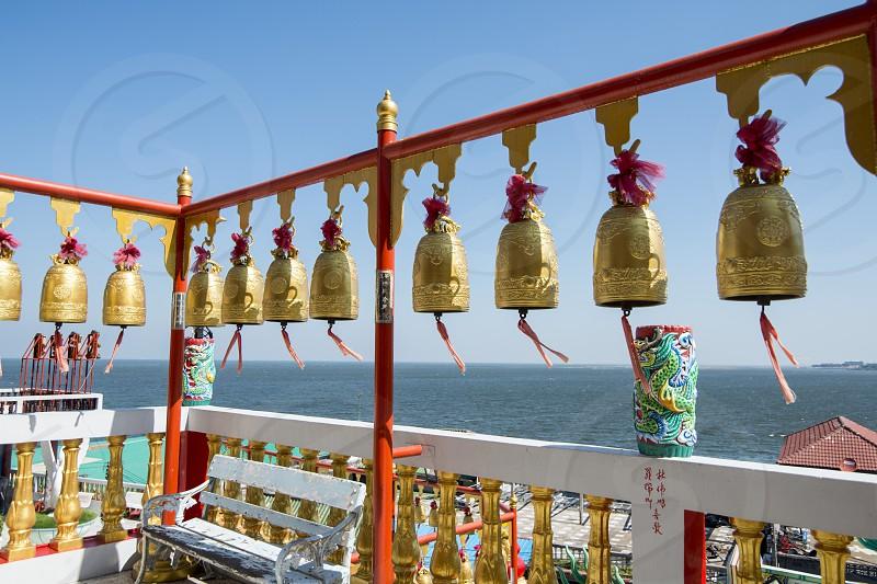 a Buddhism Temple at Sean Suk near the Town of Bangsaen in the Provinz Chonburi in Thailand.  Thailand Bangsaen November 2018 photo