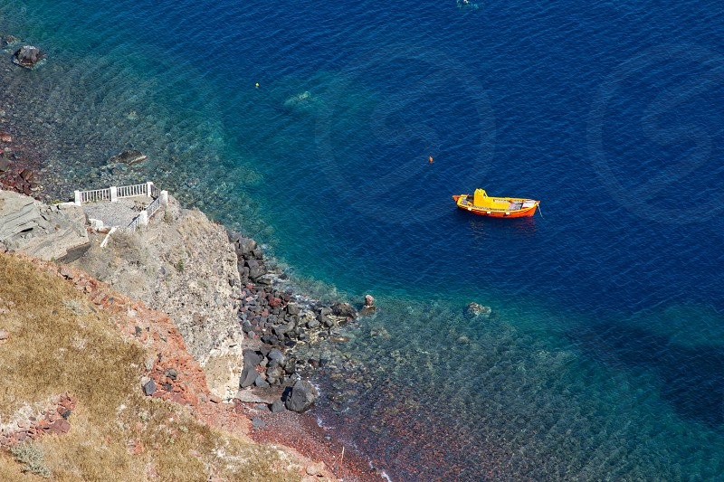 Fishing Boat in Santorini Greece photo