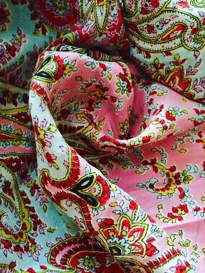 Bright colored silk scarf. #texture #tactile  photo
