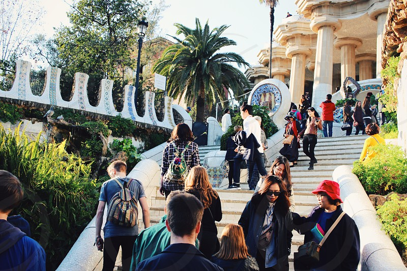Sunny adventure in Parc Guell Barcelona photo