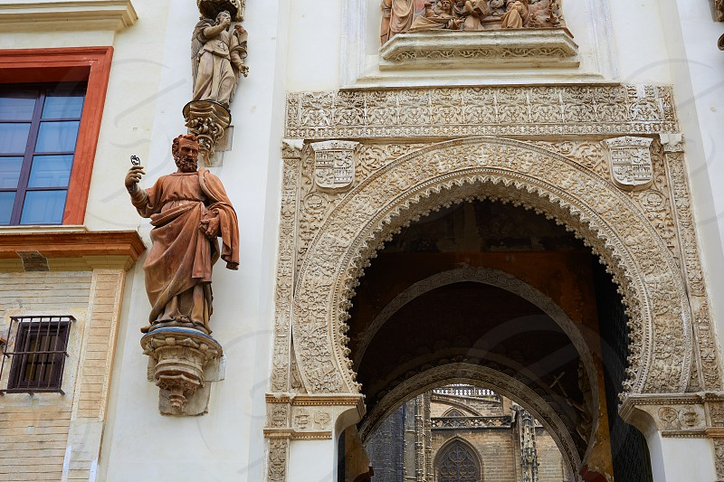 Seville almohade Perdon Cathedral door in Sevilla Andalusia spain photo