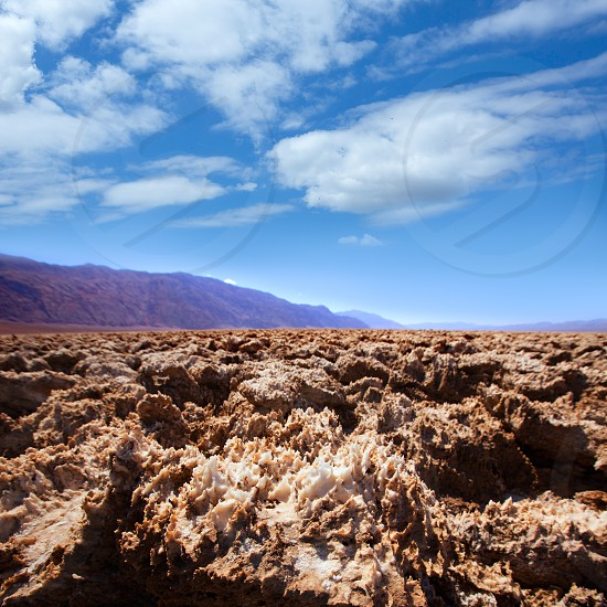 Devils golf course Death Valley salt clay formations National Park California photo