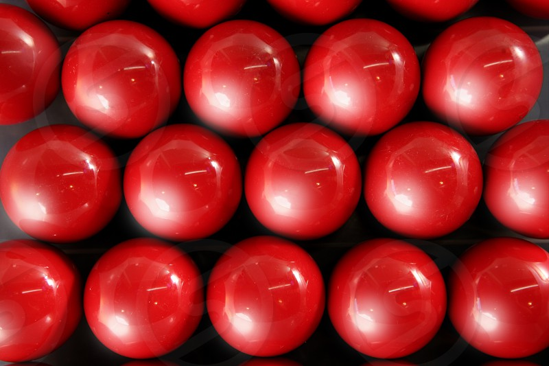 Billiard many red balls rows background pattern texture  photo
