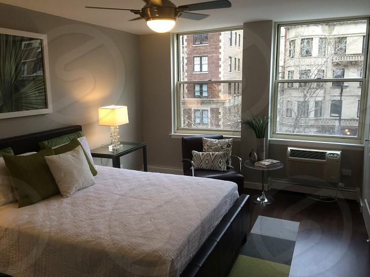 white bed linen photo