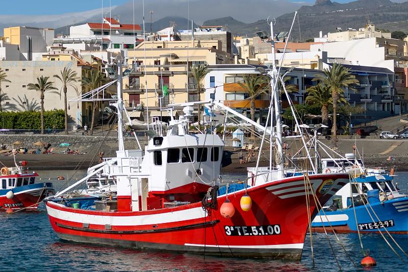 Boats moored in San Juan harbour Tenerife photo