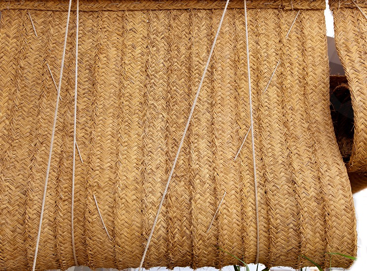 Esparto woven hemp curtain store as traditional mediterranean handcrafted photo