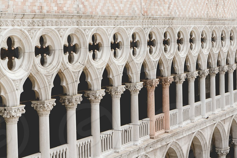 Doge's palace details in St. Mark's square in Venice. photo