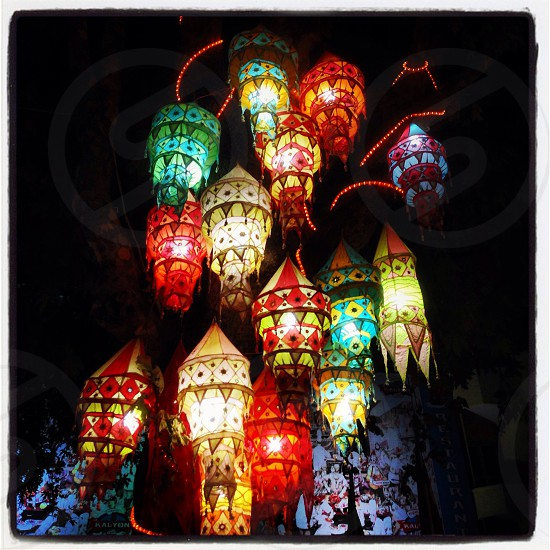 Lanterns lighting up the night.  photo