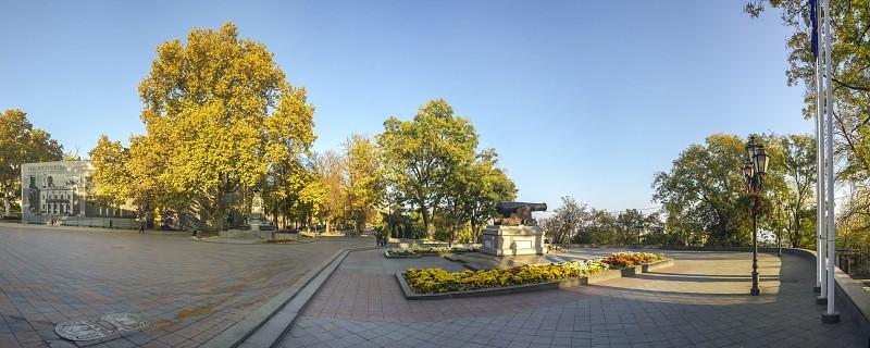 Odessa Ukraine - 09.11.2018. Early autumn morning on Primorsky Boulevard in Odessa Ukraine. Panoramic view photo