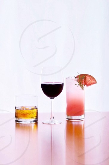 Cocktails drinks whiskey grapefruit red wine  photo