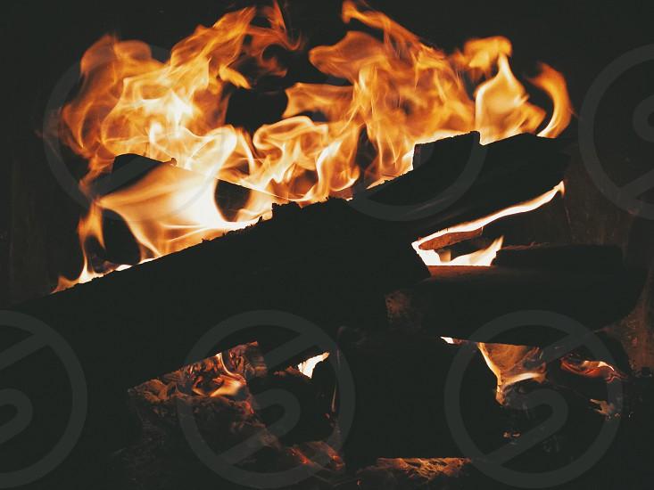 burning fireplace photo