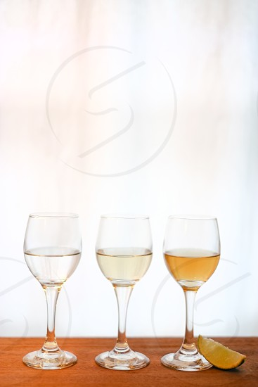 clear round base long stem wine cup photo