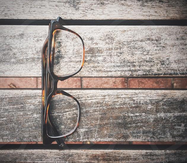 Glasses on wood.  photo