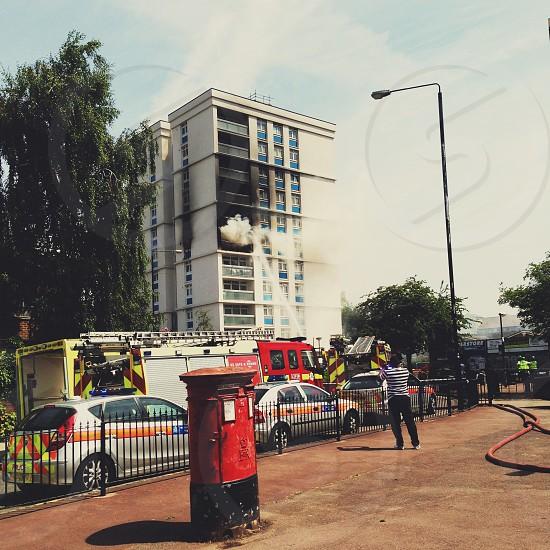 Building . Fire . Burning . Fire brigade . Emergency  photo