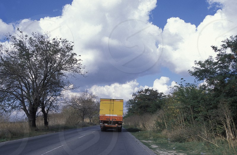 a hightway with a truck outside of the city of Sofia in Bulgaria in east Europe. photo
