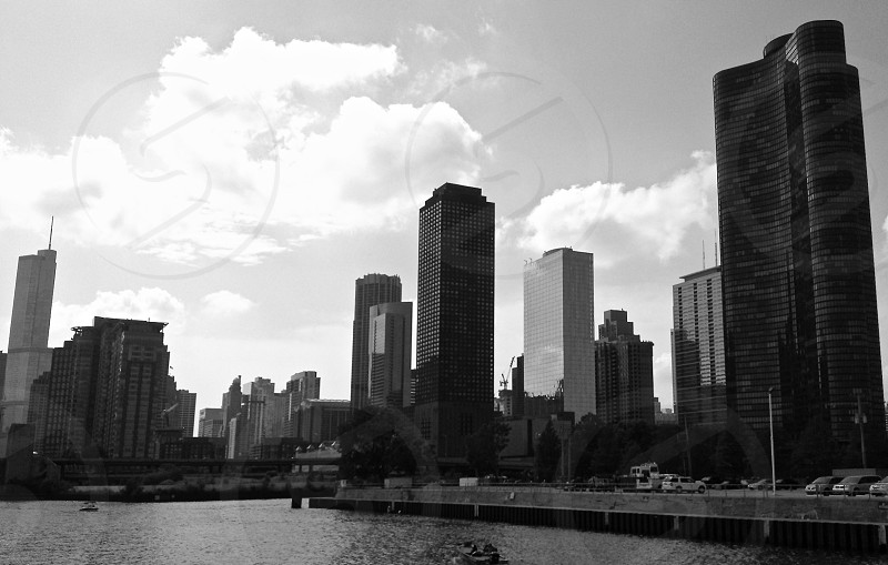 Chicago the windy city from one of the cities harbors mid-afternoon.  photo