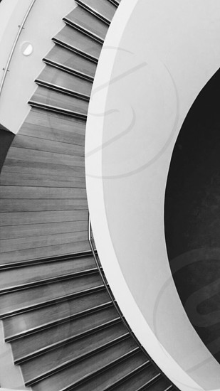high angle photography of brown wooden stairs photo