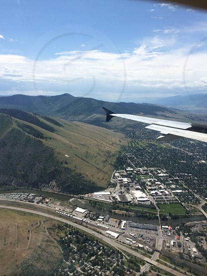 Downtown Missoula MT and the Clark Fork river photo