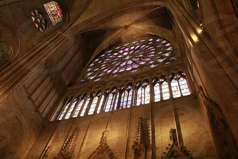 paris notre dame france landscape cathedral church rosewindow window photo